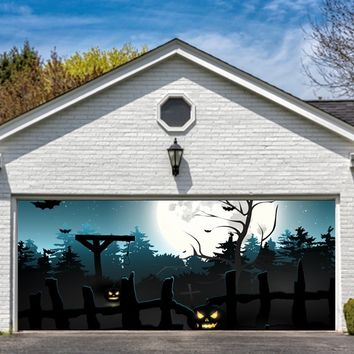 Garage Door Halloween Decorations Cover Decor Bats Pumpkin Night Sky Moon Bat 3d Billboard Outside Decoration for Garage Door Halloween