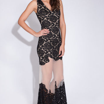 floor length long lace maxi dress with floral appliqu summer b