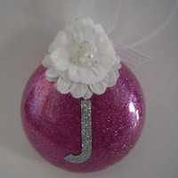 Pink Personalized Glitter Glass Ornament