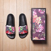 Gucci Casual Fashion Floral Print Sandal Slipper Shoes