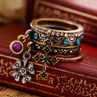 Wholesale Cool Vintage Cross Charm Ring Set of 4