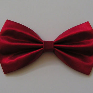 Hair Bow - Red Satin Hair Bow, Fabric Hair Bow, Red Bow, hair bow for teens, bows for women, bows for adults