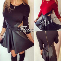 2016 Autumn Women Fashion A-Line PU Leather Patchwork Dress  O-Neck Dress Casual Mini Dress Long Sleeve Sexy Winter Vestidos