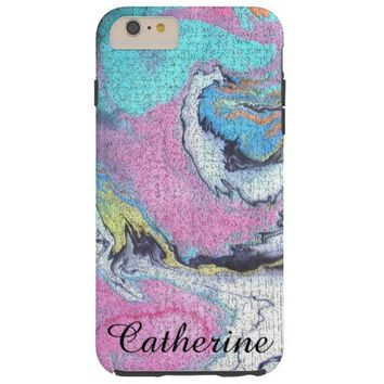 Abstract Pink, Blue & White Crackled Paint Design Tough iPhone 6 Plus Case