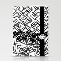 Black and white spirals design Stationery Cards by LoRo  Art & Pictures