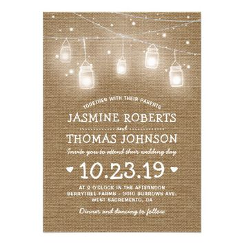Burlap Rustic Mason Jar String Lights Wedding Card