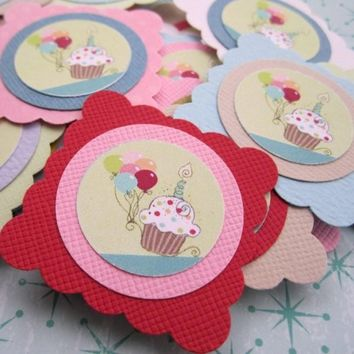 Cake and Balloon Party Favor or Gift Tags for Birthday, Baby Shower
