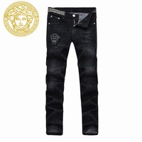 Medusa head embroidery black high-grade micro - elastic small - foot men's jeans trousers men
