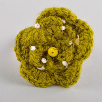Handmade flower hair scrunchy hair accessories crochet barrette gift for girl