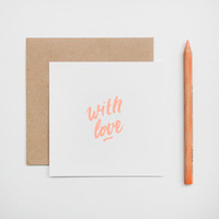 Postcard type square format handprinted - neon peach pastel - kraft envelope - With love