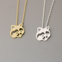 Racoon/ Raccoon Pendant Necklace  -  Available color as listed ( Gold, Silver )
