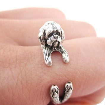 3D Shih Tzu Dog Shaped Animal Wrap Ring in Silver