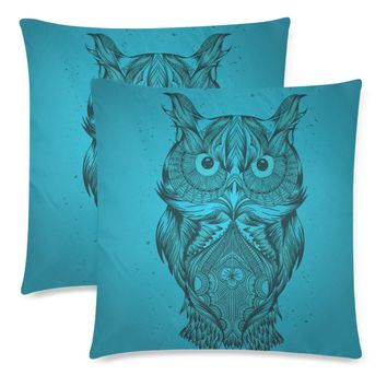 """Blue Owl Throw Pillow Covers 18""""x 18"""" (Set of 2)"""