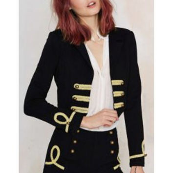 Vintage Long Sleeve Laciness Embellished Blazer For Women