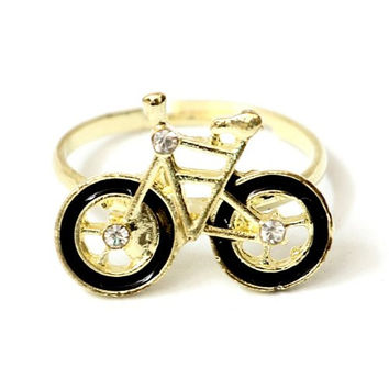 Bicycle Ring Adjustable Black Gold Tone Fixie Bike RA31 Retro Velo Crystal Cyclist
