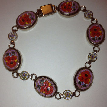 "Italian Micro Mosaic Millefiori Bracelet 8.5"" Silver Pink Red Flowers Floral Italy 50s Vintage Jewelry Holiday Birthday Anniversary Gift"