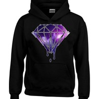 Bleeding Melting Dripping GALAXY Diamond Hoodie Fashion Sweatshirts Large Black