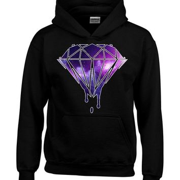 Bleeding Melting Dripping GALAXY Diamond Hoodie Fashion Sweatshirts Small Black
