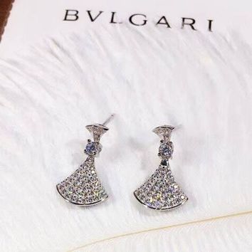 Bvlgari Women Fashion New More Diamond Personality Long Earring Silver