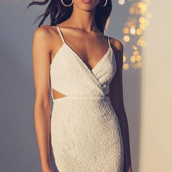 Line & Dot Cut-Out Surplice Lace Dress | Urban Outfitters