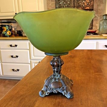 Vintage Green Frosted Glass Pedestal Candy Dish Ornate Metal Base Gold Wash