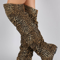 Leopard Slouchy Thigh High Boot