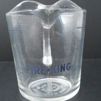 Fire-King 1 Cup Measure Blue Label Anchor Hocking Measuring Cup 496
