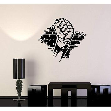 Wall Decal Fist Fight Boxing MMA Beat Vinyl Sticker Unique Gift (ed718)