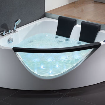 EAGO AM199  5' Rounded Clear Modern Double Seat Corner Whirlpool Bath Tub with Fixtures