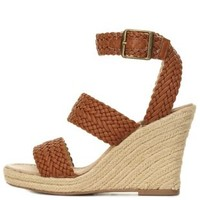 Cognac Braided Espadrille Wedge Sandals by Charlotte Russe