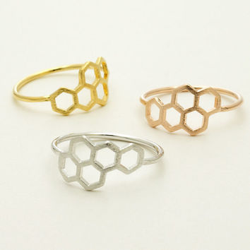 2015 New Unique Honey Bee Honeycomb Rings Gold/Silver/Rose Gold Vintage Simple Hexagon Ring Women and Men Everyday Jewellery