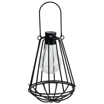 "7.25"" Black Solar Powered LED Decorative Outdoor Metal Patio Lantern"