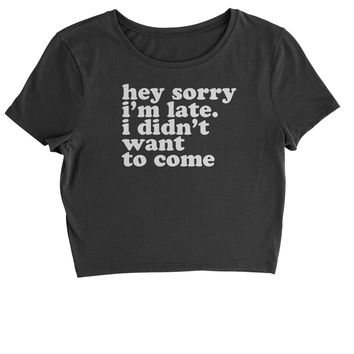 Hey Sorry I'm Late, I Didn't Want To Come  Cropped T-Shirt