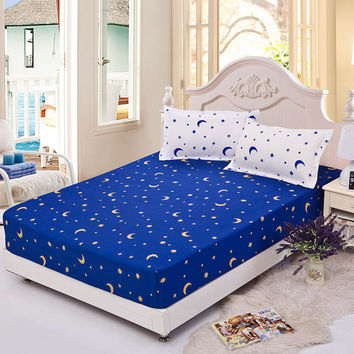 Home textile bedspread fitted sheet 120*200 elastic rubber bed cover mattress cover fitted sheet + two pillowcase star and moon