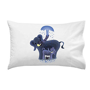 'Elephant Showers' Cute Mom & Baby Trunk Squirting - Pillow Case Single Pillowcase
