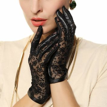 Women Lace Genuine Leather Gloves