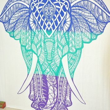 Three Color Elephant Bohemian Boho Wall Beach Bed Tapestry