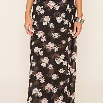 Faux-Wrap Floral Maxi Skirt