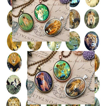 African Lions Painting Art - - Digital Collage Sheets - 28x40mm Ovals for Jewelry Makers, Party Favors, Wedding Projects, Crafts