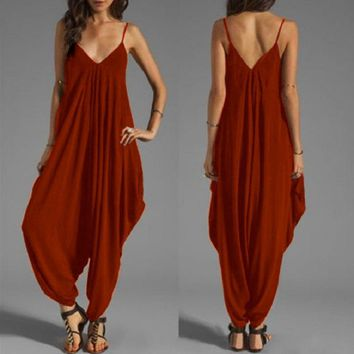 2019 Summer Women's Solid Harem Romper Ankle-Length Pants One-piece Playsuit Strap Sexy Deep V-Neck Jumpsuits Big Size S-5XL