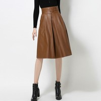 Quality Autumn Winter Soft PU Leather Skirt Women Casual Faux Leather Skirts A-Line Female Short Skirts With Sash 1812QY
