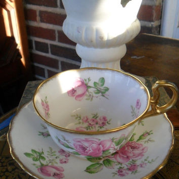 Vintage Teacup Tea Cup and Saucer Trentona English Bone China Rose Pattern Cottage Chic