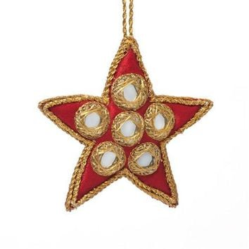 Embroidered Star with Mirrors Ornament