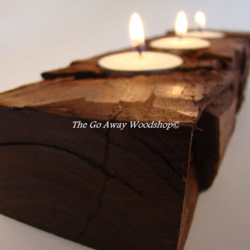 Rugged cherry tea light holder