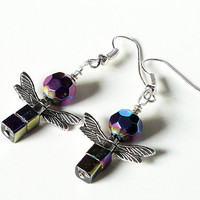 Hematite Rainbow Angel  Silver Earrings/ Purple Pink Earrings