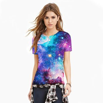 3D Blue Galaxy Short Sleeve T Shirt Top