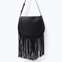 LEATHER MESSENGER BAG WITH FRINGES Look+: 1 of 2
