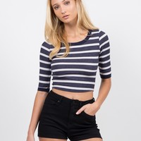 Nautical Stripe Crop Top