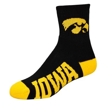For Bare Feet Iowa Hawkeyes Team Color 1/4-Crew Socks - Youth, Size: M (Iwa Team)