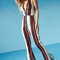 Kelly Halterneck Striped Flare Jumpsuit | Boohoo